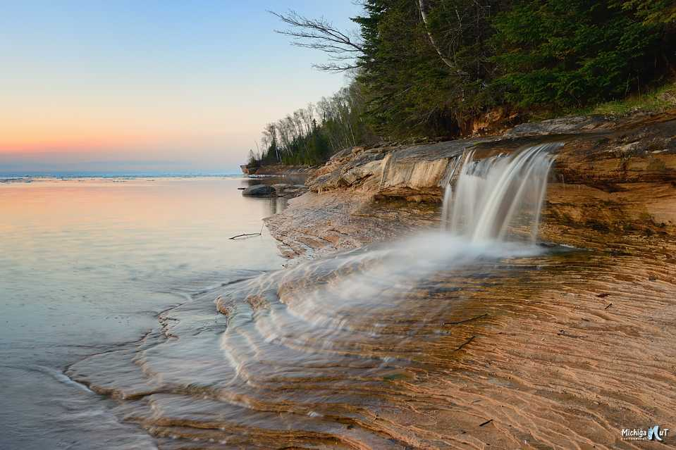 Spray Falls on Lake Michigan in the Upper Peninsula.