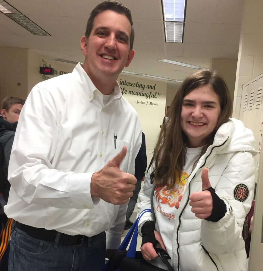 Superintendent Dan Behm shadows FHC student Sarah Kranenborg for a day