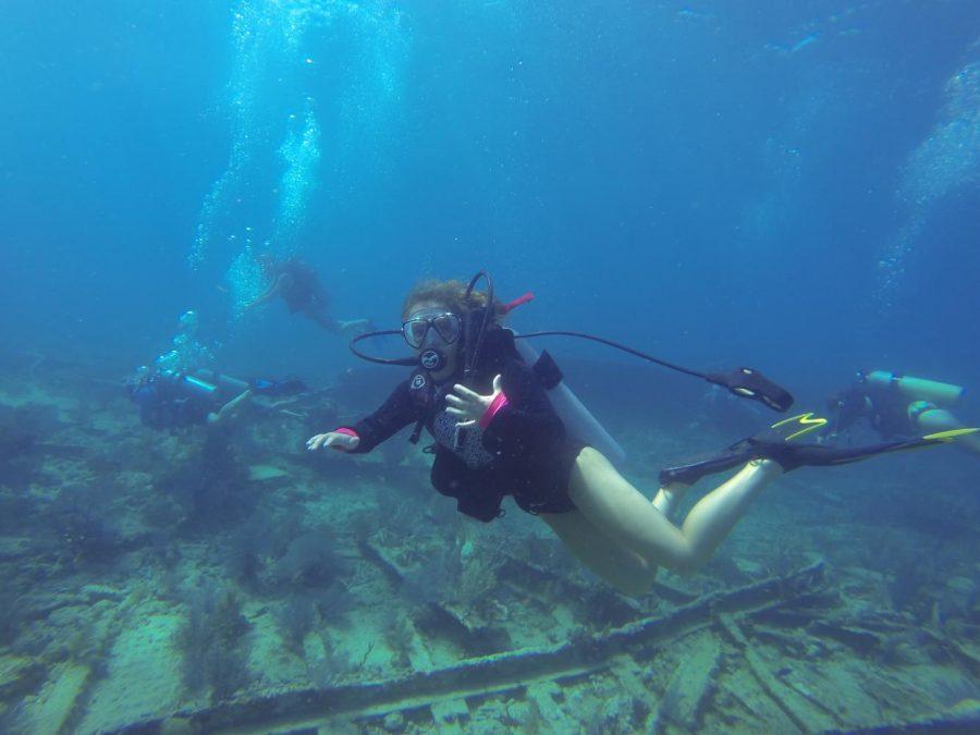 Ashley Jenkins explores through the ocean while Scuba Diving