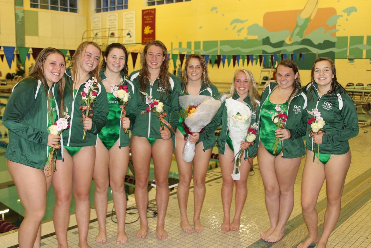 Girls swim and dive wins big on Senior Night