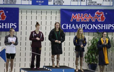 Five time State Champion Felicity Buchmaier leads FHC swim team to 5th place in State Meet