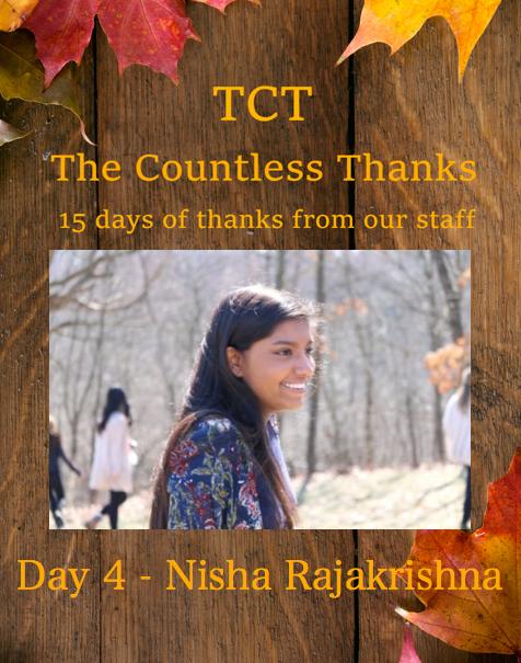 TCTs The Countless Thanks: Day 4 a�� Nisha Rajakrishna