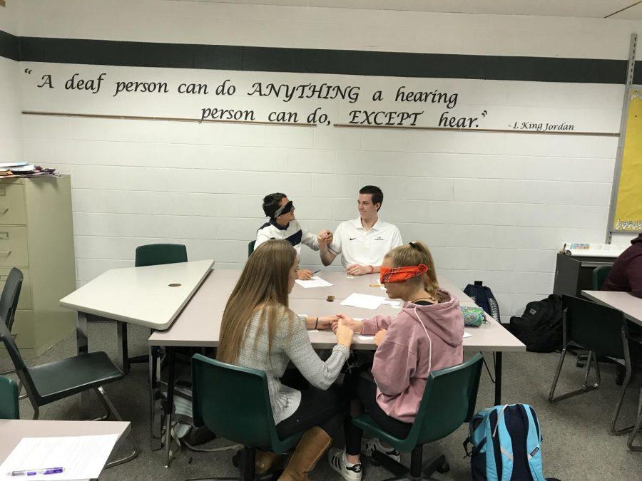 ASL students participate in deaf-blind challenges