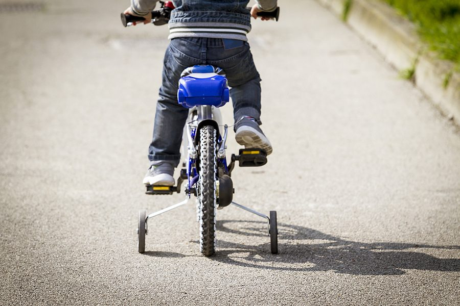 Toddler Three-year-old tries out his new bike
