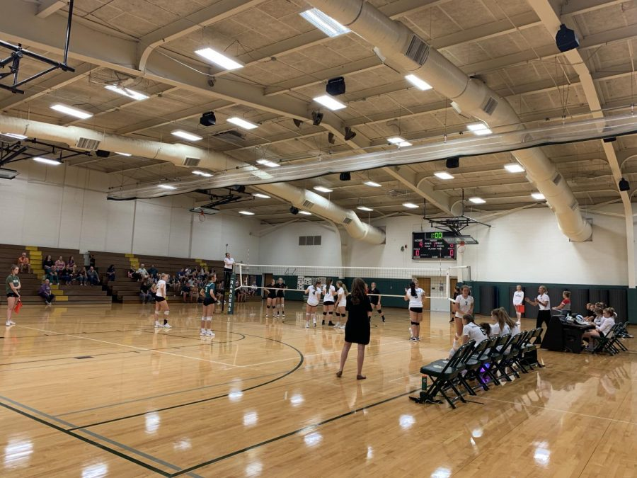 Freshman Volleyball wins their first conference match home against Cedar Springs