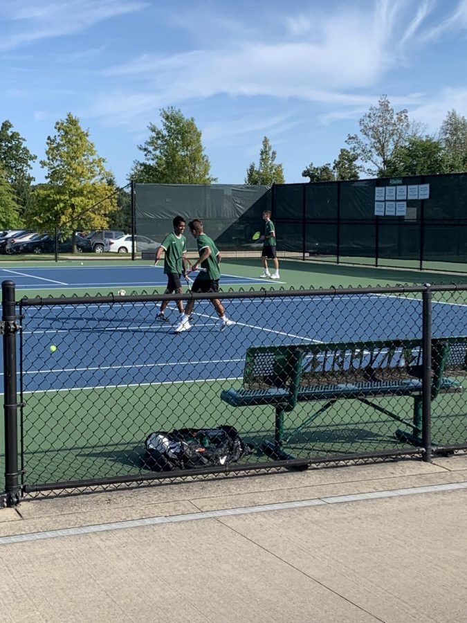 Boys varsity tennis doubles teams lead Rangers to a 5-3 win against Holland