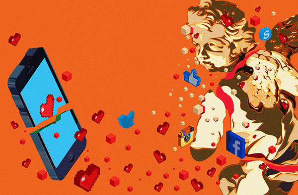 Image depicts how social media can alter how love effects teens.