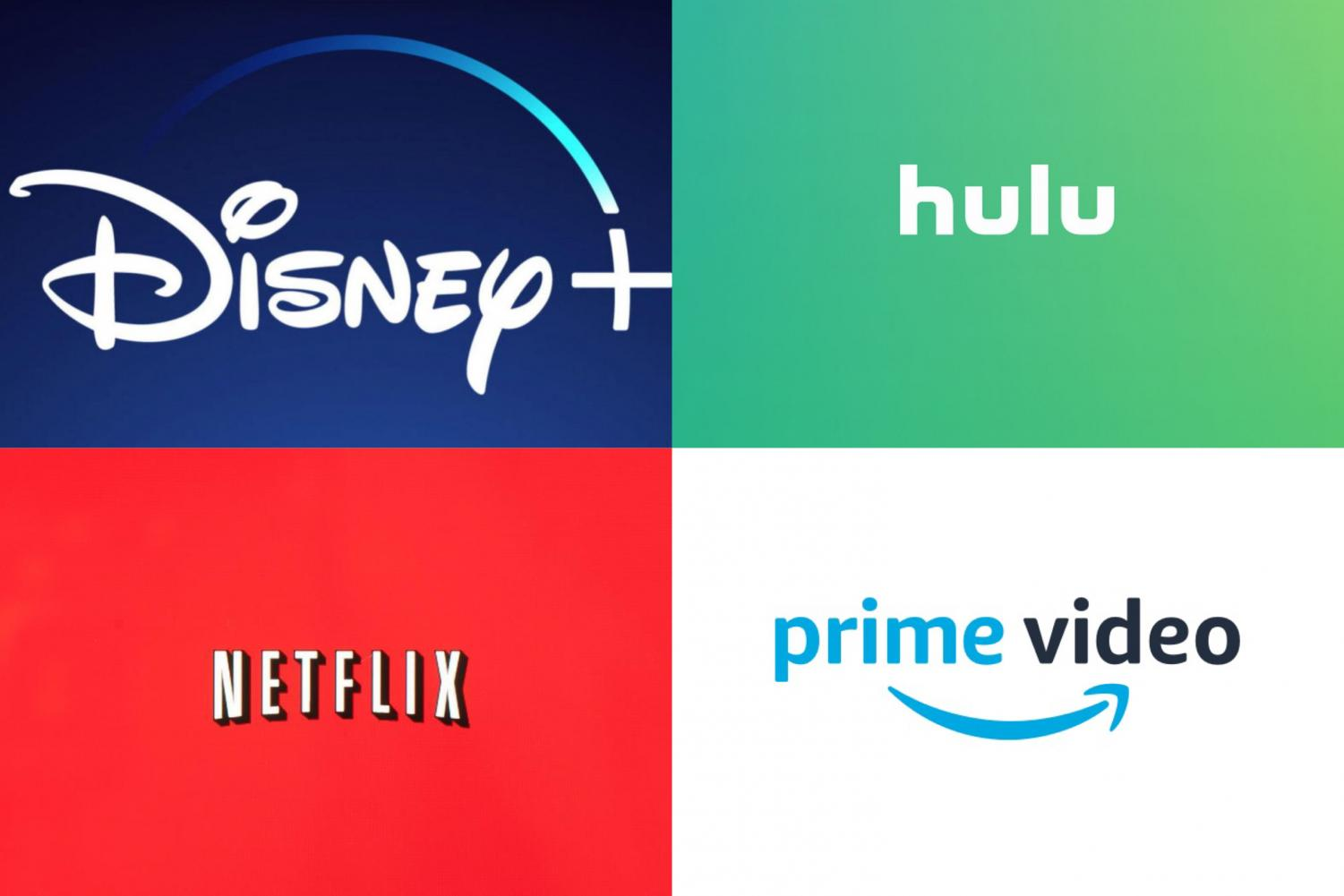 A collage of Disney Plus, Netflix, Amazon Prime Video, and Hulu