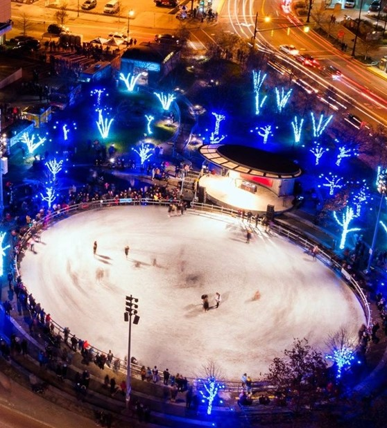 Rosa Parks Circle Ice Rink provides an enjoyable experience amidst a scenic surrounding