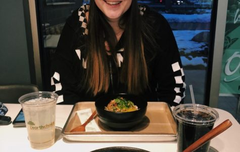 Bre Brown enjoying Poke Toki's poke bowls along with amazing Diet Pepsi.