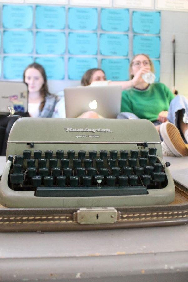 little green broken typewriter