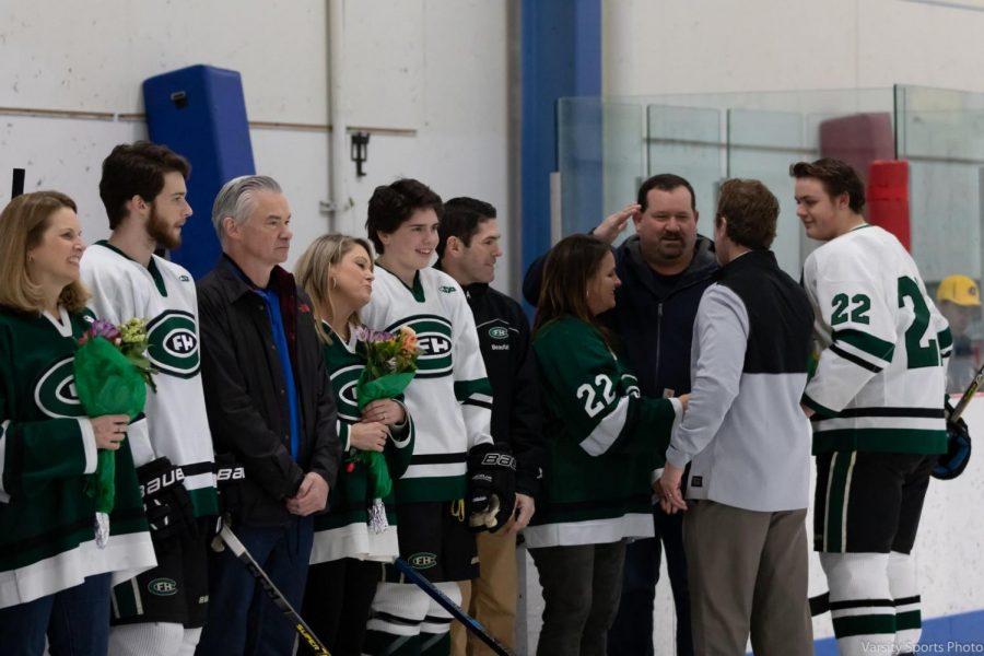 FHC offense dominates as hockey defeats Hudsonville 4-2 on Senior Night