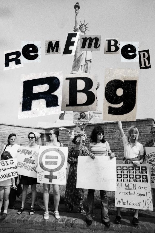 Modified image of women demonstrating on Liberty Island in support of the proposed Equal Rights Amendment on August 10, 1970.
