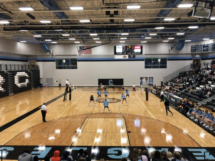 Varsity volleyball falls to the Grand Rapids Christian Eagles in conference semifinals