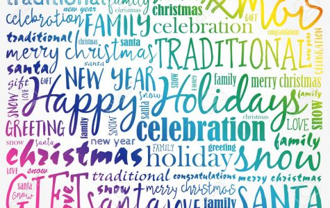 Happy Holidays and Christmas background word cloud, holidays lettering collage