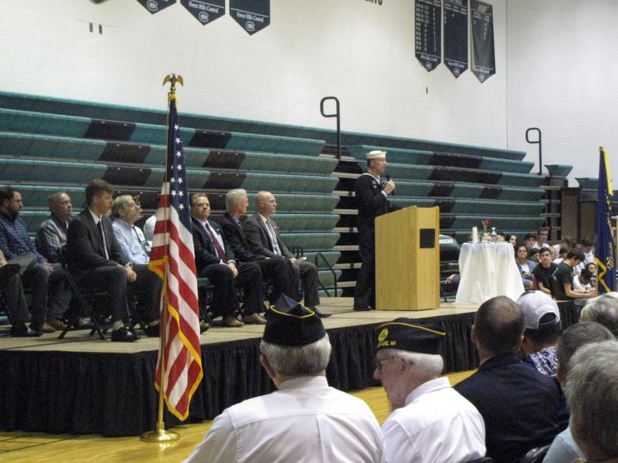 A picture of the Veterans Day assembly from last year.