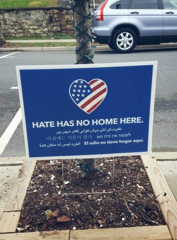 "A photograph of a ""Hate has no home here sign"" in Clinton, New Jersey."