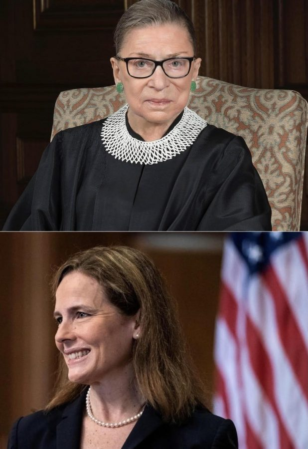 Adapted images from Judge Amy Coney Barrett's nomination to the Supreme Court and Ruth Bader Ginsburg.
