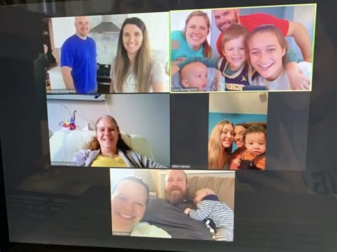 Taylor B. and her extended family on a zoom call to stay connected