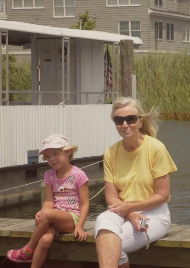My Nana Ingrid and I on the dock, me desperate to be as flawlessly cool as her.