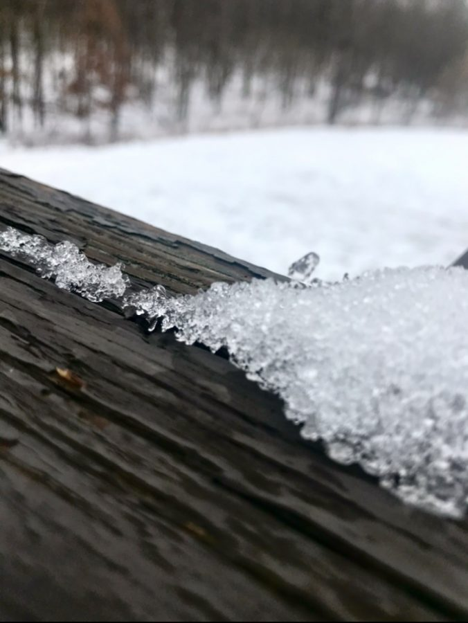 Snow that still hasn't melted on my deck