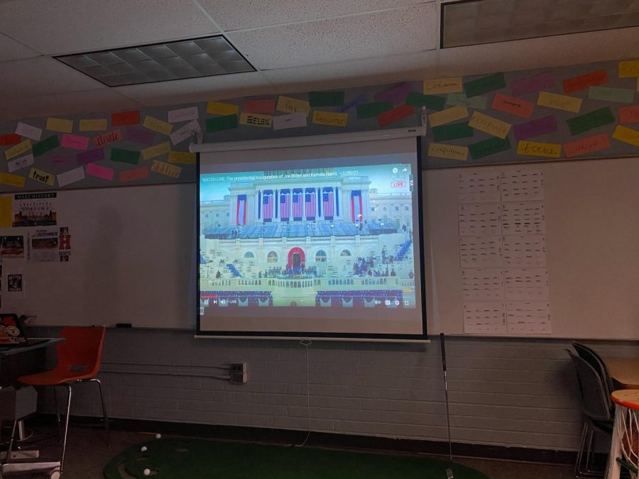 The inauguration proceedings depicted on a projector in one of FHC's classrooms