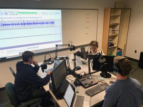 Matthew, Joe, and Pierson in the recording studio.