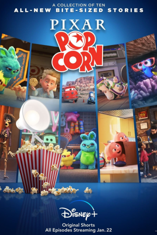 This is the Pixar Popcorn Poster showing a preview of the ten shorts.