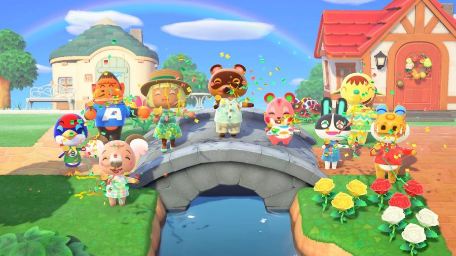 An+island-wide+celebration+for+the+construction+of+a+new+bridge%2C+all+gameplay+features+in+Animal+Crossing%3A+New+Horizons.+
