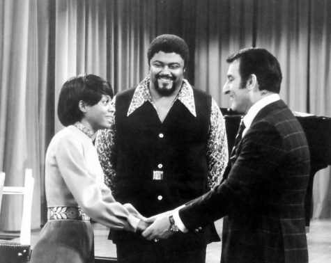 A photo of Rosey Grier (center), Diana Ross (left), and Danny Thomas (right).