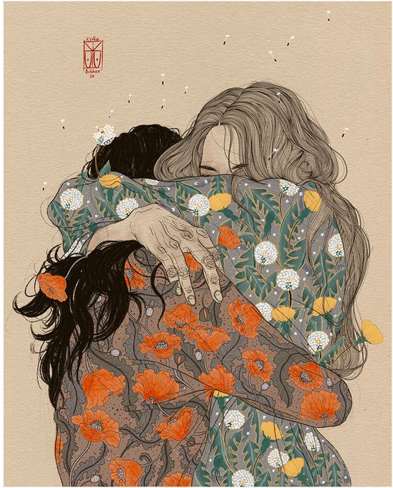 Two individuals in floral blouses embracing, realizing that they are, in fact, enough.