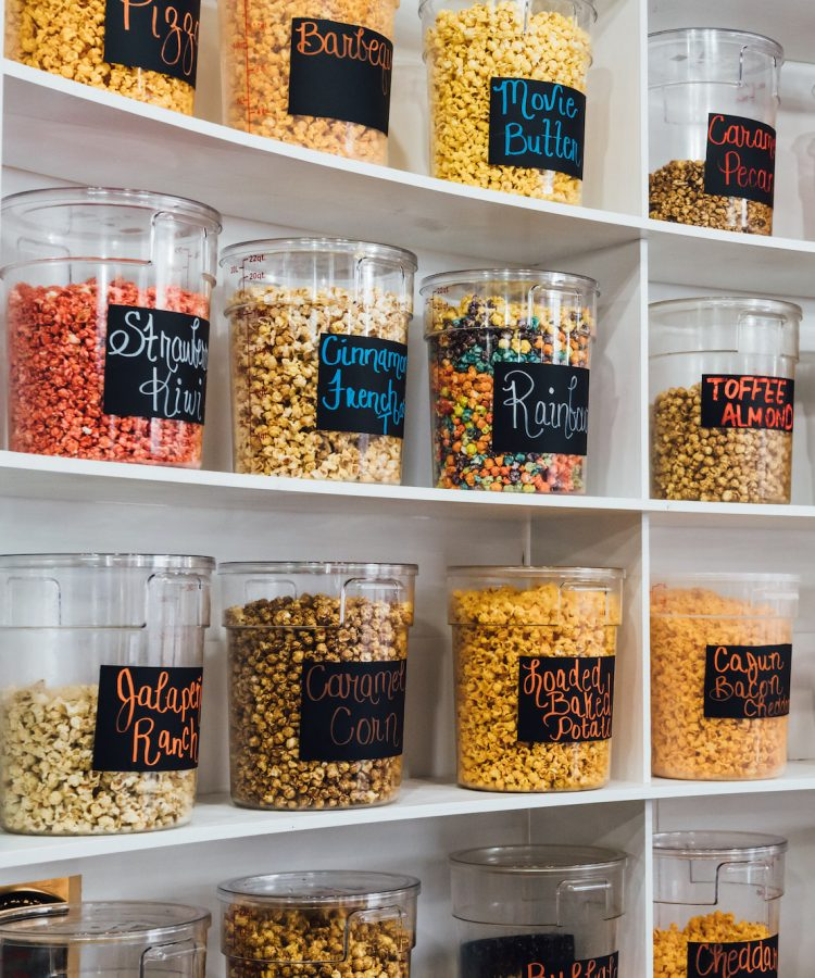A few of the many flavors of popcorn that Mosby's has to offer.