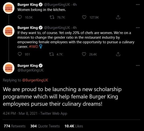 Burger King UK's tweet to