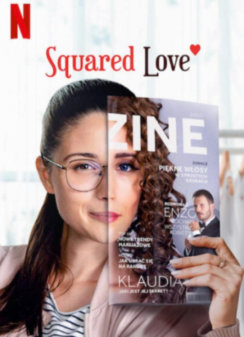 The poster for Squared Love, in which the main character Monika holds up a magazine of her alter ego Klaudia.