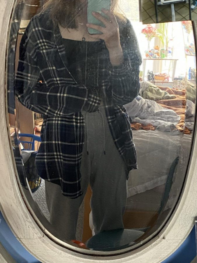 The navy blue and white flannel that I wear the most