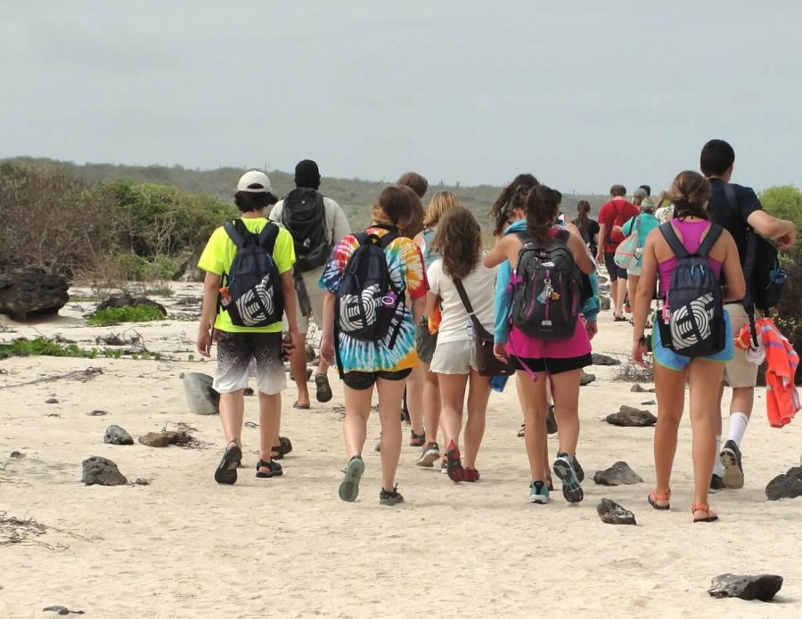 Students on the Galapagos trip in 2015.