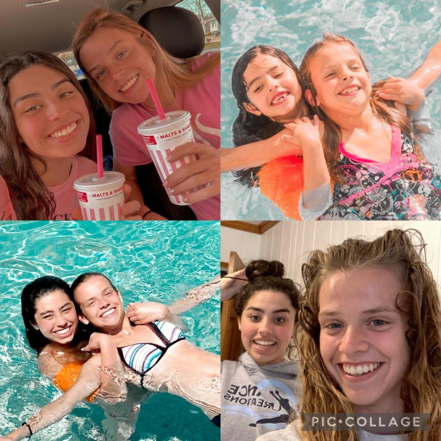 Top left: my cousin Merrik and I finally getting our milkshakes. Bottom right: a post-pool selfie. Top right and bottom left: a picture of the two of us and a recreation of it years later (I don't actually use swim wings, I just used them for the picture).