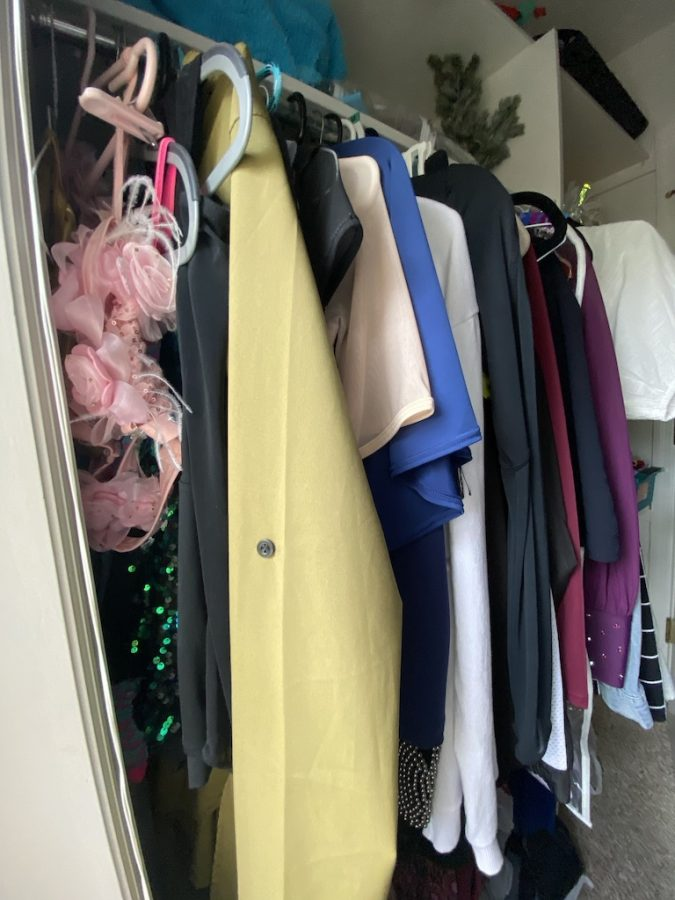 My lifelong collection of dance costumes that I keep solely for the memories.