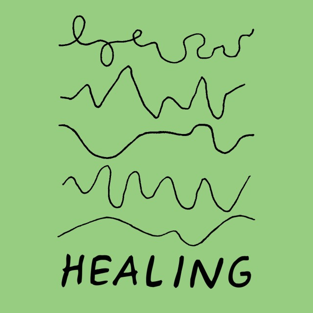 I have this sticker on my water bottle in pink. Healing isn't linear.