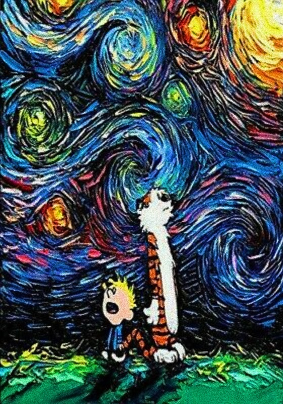 Calvin and Hobbes Starry Night: an artistic spin on pop culture.