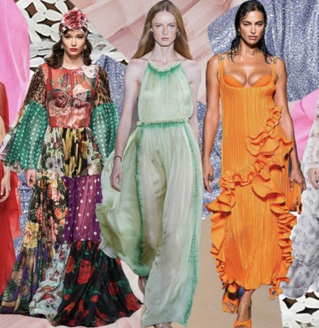Pinks, yellows, oranges, and a range of greens with nude as a neutral backdrop, of course, are this season's palette.