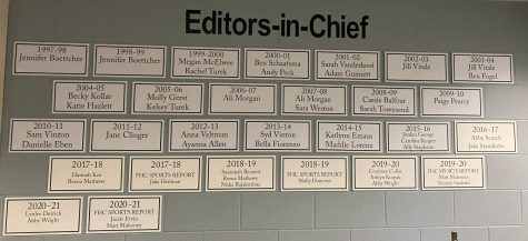 The combined FHC Sports Report and The Central Trend Editor-in-Chief wall showcasing plaques of past leaders in our room.