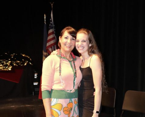 Robbin Demeester (left) with junior Abbey Calderwood (right) at the FHC 2021 Tony Awards.