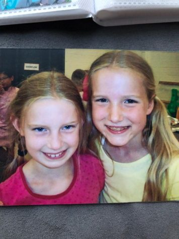 Lauren and Liza with big smiles on the last day of fourth grade before going off to separate schools.