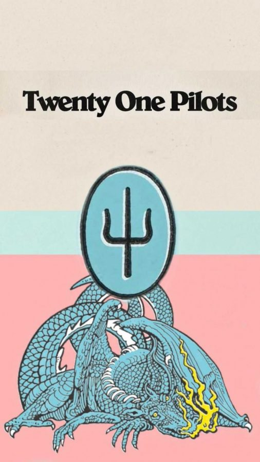 A piece of artwork featuring Scaled and Icy, as well as Twenty One Pilots' new symbol.