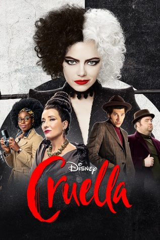 https://movies.disney.com/cruella  The Cruella movie poster featuring Emma Stone who stared in the movie as Cruella De Vil.