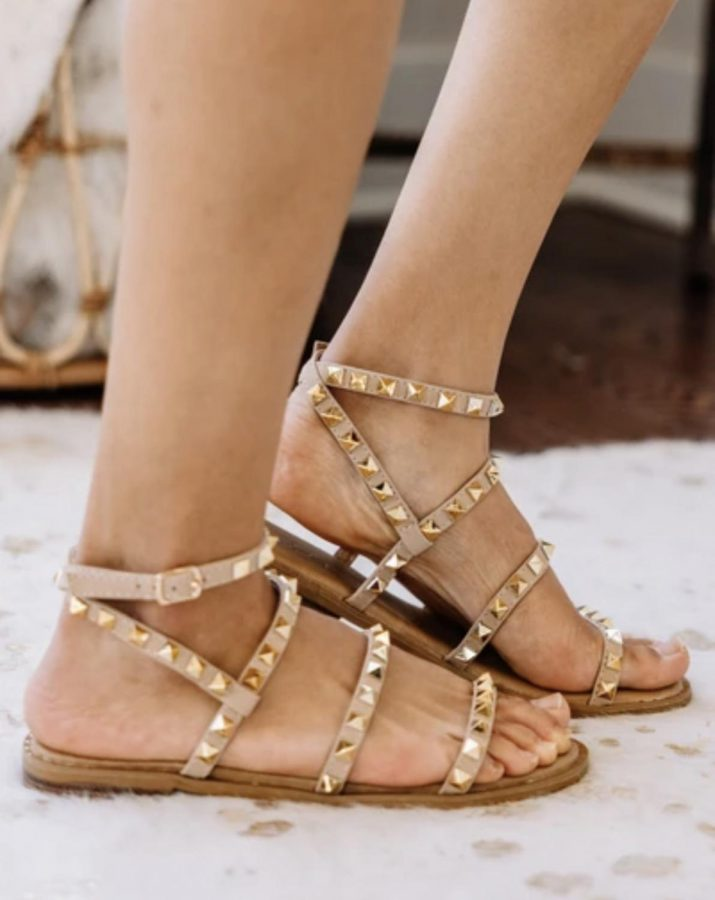 """(""""Look Sharp Taupe Brown Studded Sandals"""")"""