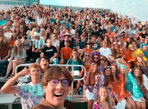A selfie of the class of 2022 during the first day of their senior year.