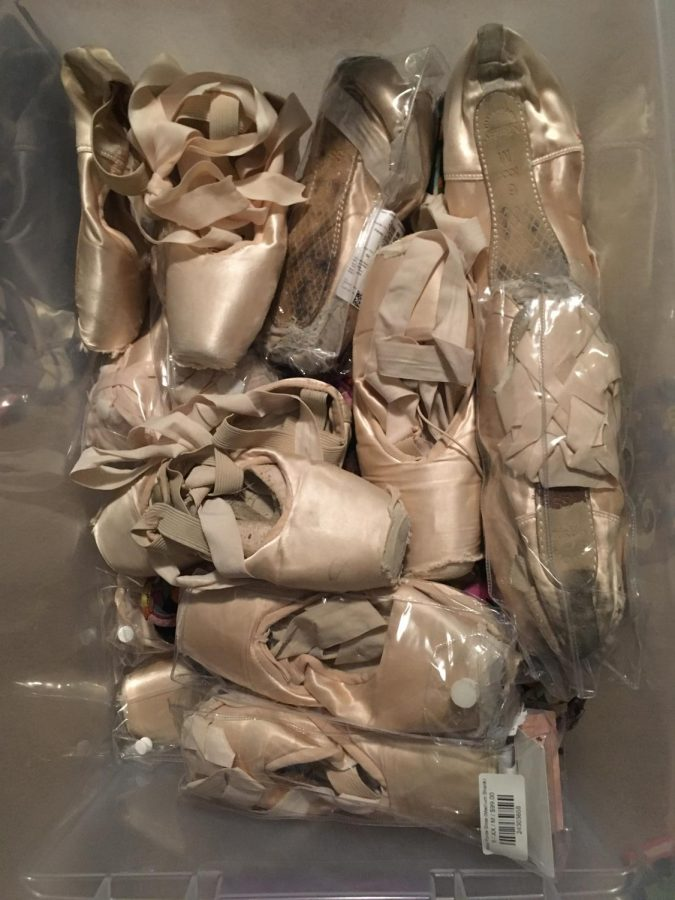 These are the countless pointe shoes that reside in my closet.