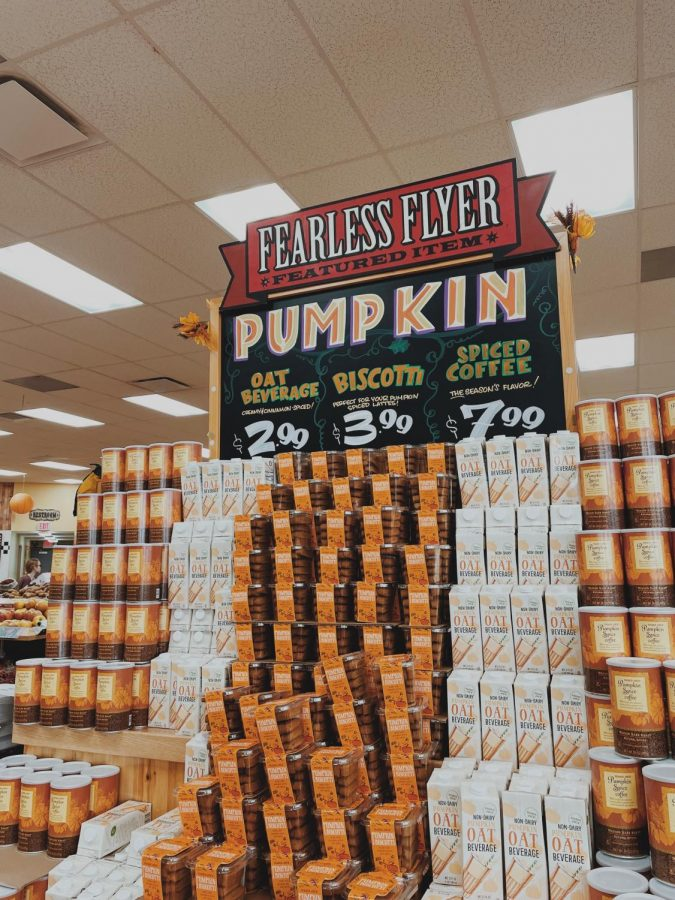 The fall-themed endcap that meets customers the second they enter Trader Joes.